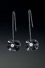 Large Oxidized Double Leaf Wire Earrings with Pearls by Sadie Wang (Silver & Pearl Earrings)