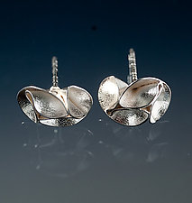 Folded Leaf Interlocking Earrings by Sadie Wang (Silver Earrings)