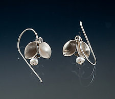 Folded Single Leaf Dangle Earrings with Pearls by Sadie Wang (Silver & Pearl Earrings)