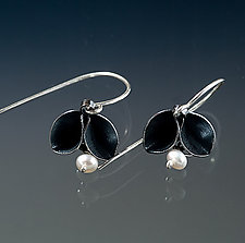 Oxidized Folded Single Leaf Dangle Earrings with Pearls by Sadie Wang (Silver & Pearl Earrings)