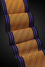 Steps in Tangerine, Azurite, and Black by Pamela Whitlock (Bamboo Scarf)