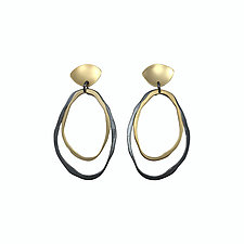 Two Layer RC Post Earrings by Lisa Crowder (Gold & Silver Earrings)