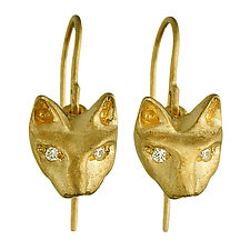 Playing Cats Earrings by Natalie Frigo (Gold Earrings)