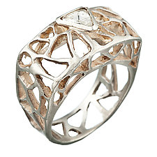 Triangles with Diamond by Natalie Frigo (Gold or Silver Ring)