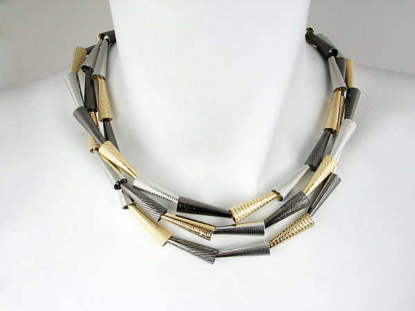 Three-Strand Textured Cone Necklace