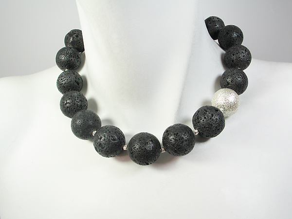 Lava Rock & Sterling Ball Necklace