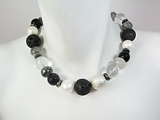 Lava Rock, Onyx & Crystal Ball Necklace by Erica Zap (Beaded Necklace)