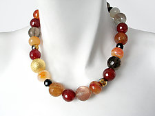 Carnelian, Smoky Quartz, and Goldstone Ball Necklace by Erica Zap (Beaded Necklace)