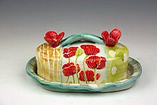 Poppies Butter Dish with Lid by Peggy Crago (Ceramic Butter Dish)