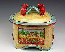 Poppies Box, Tuscan Theme by Peggy Crago (Ceramic Box)