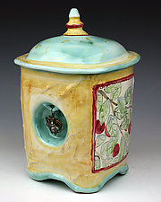Orchard Jar with Bee by Peggy Crago (Ceramic Jar)