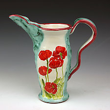 Poppies Pitcher by Peggy Crago (Ceramic Pitcher)