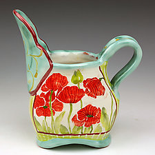 Poppies Small Oval Pitcher by Peggy Crago (Ceramic Pitcher)