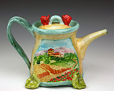 Oval Teapot, Poppies by Peggy Crago (Ceramic Teapot)