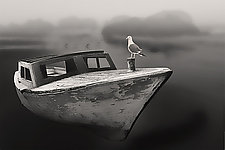 Old Boat on Oregon Beach by Jim Bremer (Black & White Photograph)