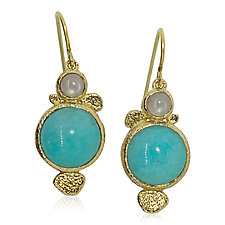 Amazonite and Gray Moonstone Earrings by Rona Fisher (Gold & Stone Earrings)