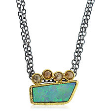 Opal Slab Pendant with Rustic Brown Diamonds by Rona Fisher (Gold & Stone Necklace)