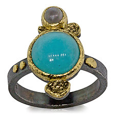Amazonite and Gray Moonstone Textured Pebbles Ring by Rona Fisher (Gold, Silver & Stone Ring)