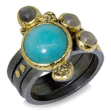 Amazonite and Gray Moonstone Textured Pebbles Stacking Rings by Rona Fisher (Gold, Silver & Stone Ring)