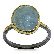 Free-Form Aquamarine Textured Pebbles Ring by Rona Fisher (Gold, Silver & Stone Ring)