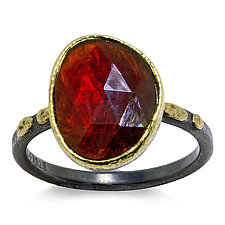 Free-Form Garnet Textured Pebbles Ring by Rona Fisher (Gold, Silver & Stone Ring)