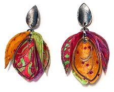 Flamenco Earrings by Carol Windsor (Silver & Paper Earrings)