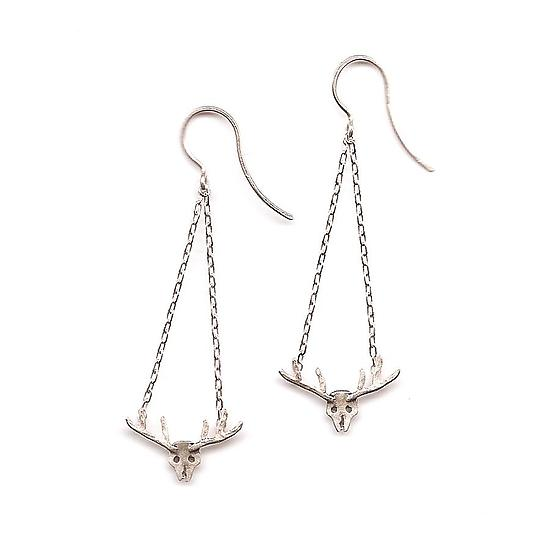 Small Deer Skull Earrings
