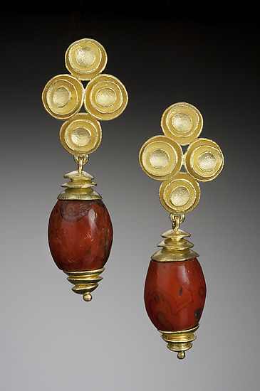 Nested Cup Earrings with African Red jasper