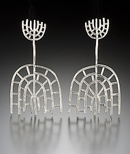 Stalks with Spokes Earrings by Robin Cust (Silver Earrings)