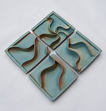 Diamond Watery Waves by Sara Baker (Ceramic Wall Sculpture)