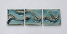 Green Waves Triptych by Sara Baker (Ceramic Wall Sculpture)