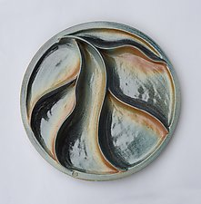Blue Waves Medallion by Sara Baker (Ceramic Wall Sculpture)