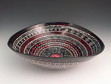 Black, White, and Red Patterned Elliptical Bowl by Jean Elton (Ceramic Bowl)