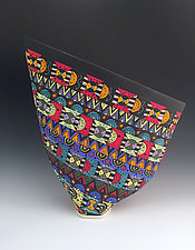 Colorful Geometric Pattern Sailvase II by Jean Elton (Ceramic Vase)
