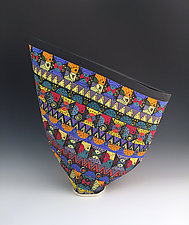 Colorful Geometric Pattern Sailvase by Jean Elton (Ceramic Vase)