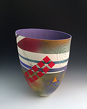 Abstract and Geometric Tall Vase with Purple Interior by Jean Elton (Ceramic Vase)