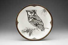 Small Round Platter: Screech Owl by Laura Zindel (Ceramic Platter)