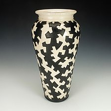 Black and White Zig Zag Puzzle Vessel I by Lance Timco (Ceramic Vase)