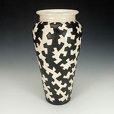 Black and White Zig Zag Puzzle Vessel I by Lance Timco (Ceramic Vase)