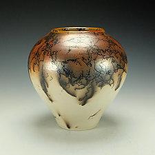 Horse Hair Raku Stoneware Vessel I by Lance Timco (Ceramic Vessel)