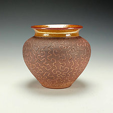 Zig Zag Raku Puzzle Vase in Earth Tones by Lance Timco (Ceramic Vessel)