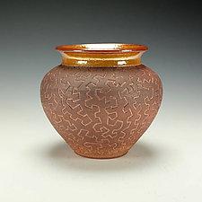 Zig Zag Raku Puzzle Vase in Earth Tones by Lance Timco (Ceramic Vessel)