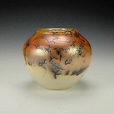 Horsehair Raku Stoneware Vessel II by Lance Timco (Ceramic Vessel)