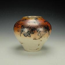 Horsehair Raku Stoneware Vessel V by Lance Timco (Ceramic Vessel)