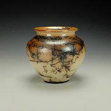 Horse Hair Raku Stoneware Vessel IV by Lance Timco (Ceramic Vessel)