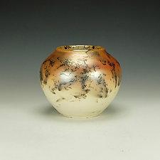 Horsehair Raku Stoneware Vessel VI by Lance Timco (Ceramic Vessel)
