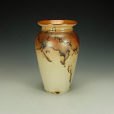 Tall Horse Hair Raku Stoneware Vessel I by Lance Timco (Ceramic Vessel)