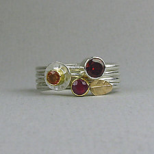 Stacking Gemstone Rings Set of Four - Warm Colors by Julie Long Gallegos (Gold, Silver & Stone Ring)