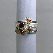 Mulitcolor Gemstone Stacking Rings Set of 5 - Warm Colors by Julie Long Gallegos (Gold, Silver & Stone Ring)