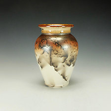 Tall Horse Hair Raku Stoneware Vessel II by Lance Timco (Ceramic Vessel)